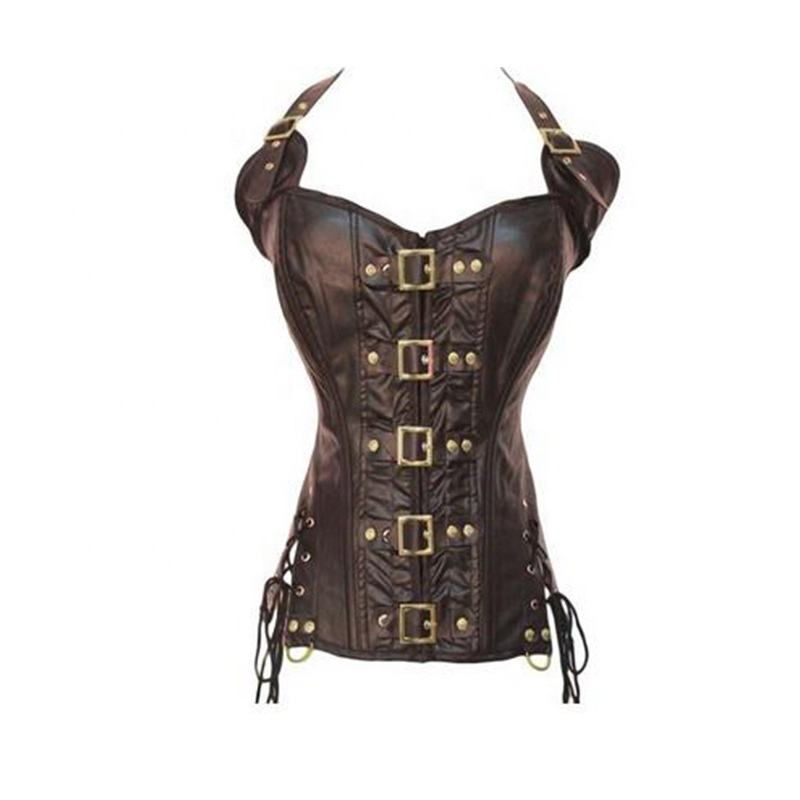Foreign trade AliExpress explosions tight punk PU European and American imitation leather hanging neck corset