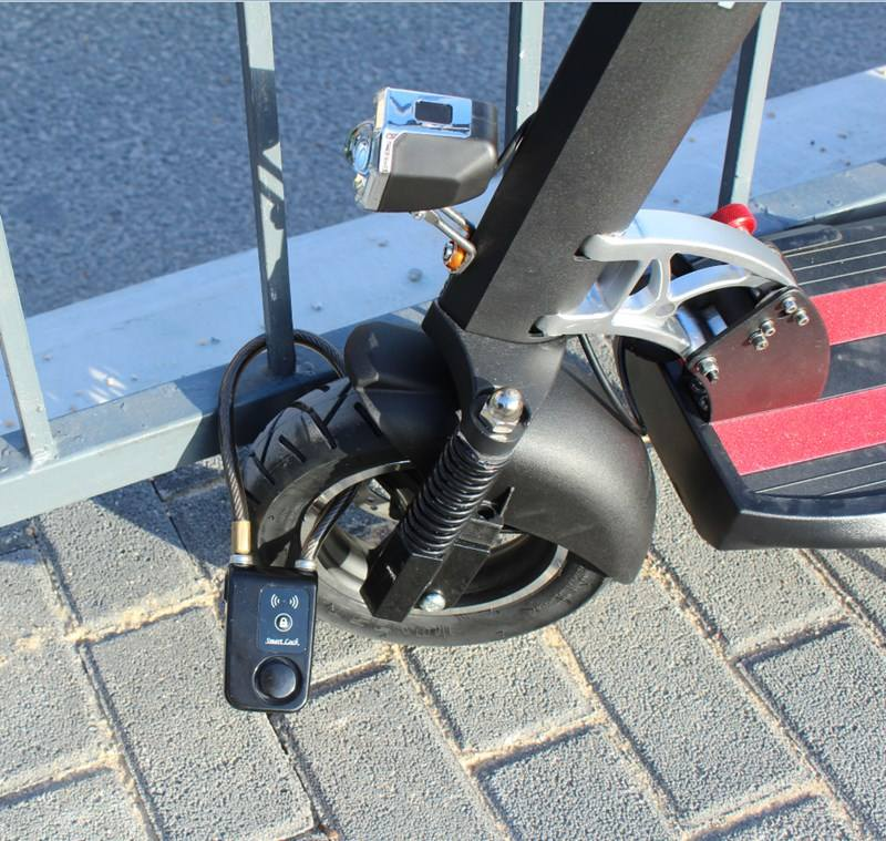 Fahrrad lock stahl kabel anti theft 110db alarm bluetooth fernbedienung wasserdicht tretroller bike lock mit smart key