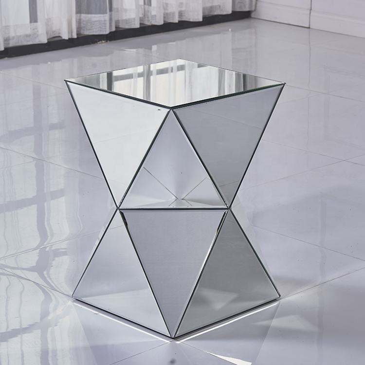 High quality multifunction diamond angle tempered glass coffee mirrored table