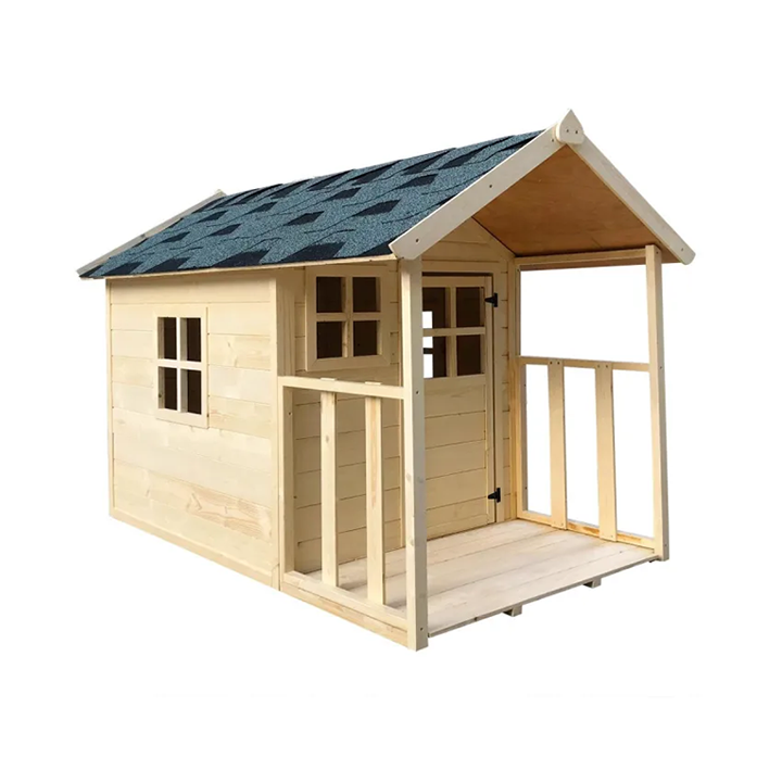 Wooden Cubby House for Kids Wood Playhouse with Rock Climbing Wall and Slide