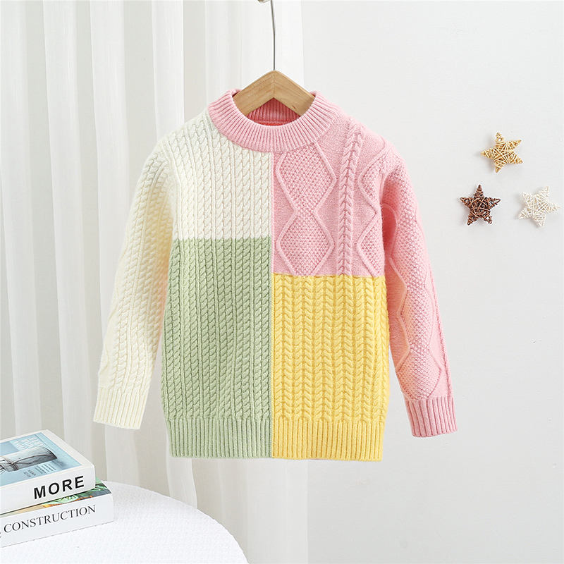 Toddler Girl Sweater Wholesale Trendy Kids Clothing Pullover Patchwork Little Girl Toddler Baby Girls Sweaters