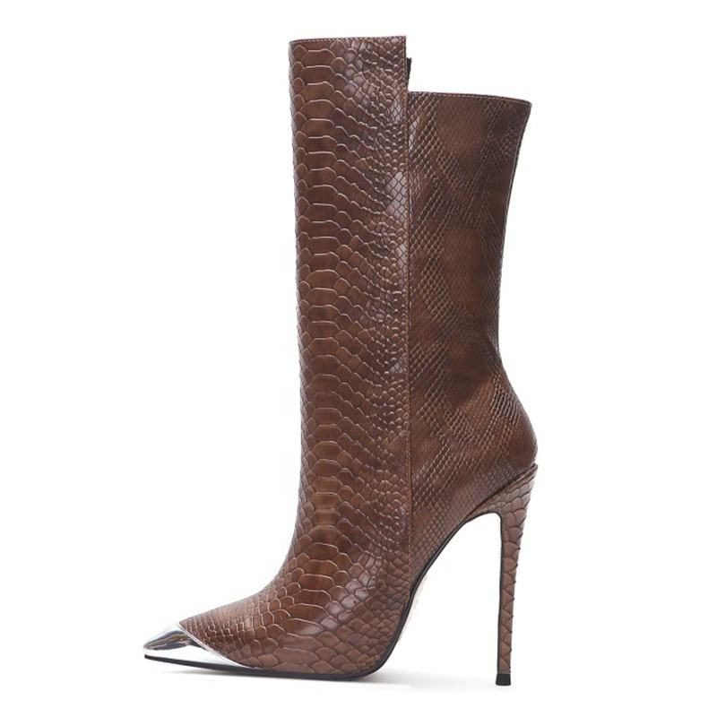 Custom women brown snake leather stiletto high heels pointed boots