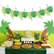 YISHU jungle animal party banner safari jungle green palma leaf banner for kid's kirthday party decorations