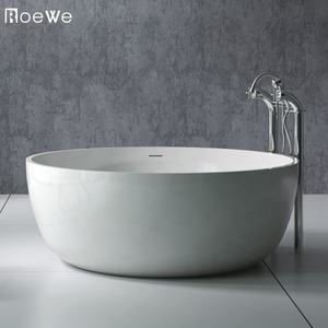 High quality bathroom round cast resin stone matt solid surface tubs soak freestanding bathtups artificial marble bathtub