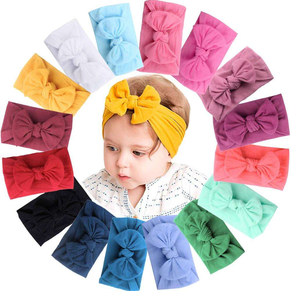 High Quality Newborn Baby Girls Plain Elastic Wide Nylon Bow Headband