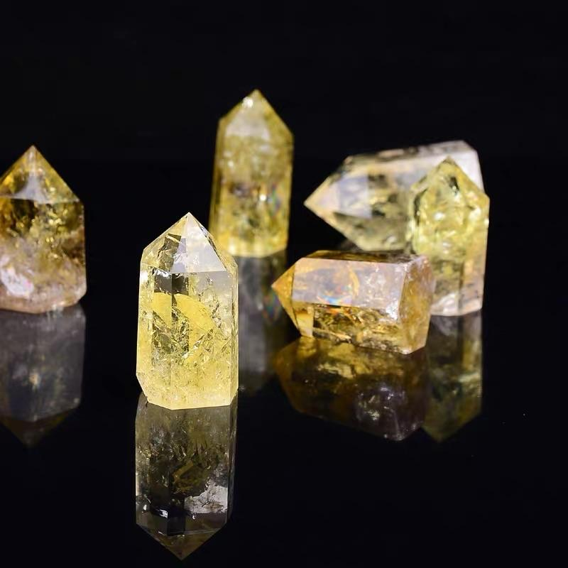 wholesale hot sale natural yellow clear citrine points crystal rough citrine crystal natural gemstone stone for fengshui