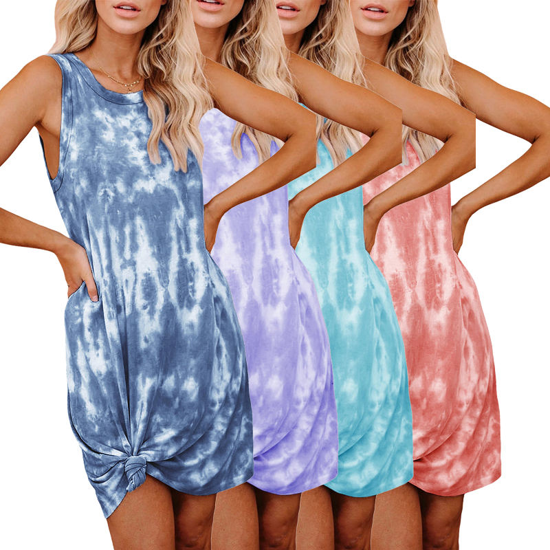 2020 High Quality Fashion Casual Women Short Tie Dye Knit Tank Lady Elegant Midi Summer Dress