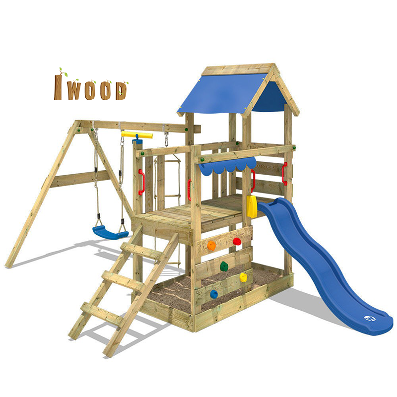 Kids play swing set with slide