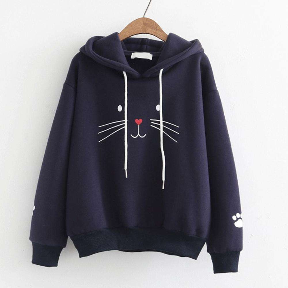 Coat Women Sweatshirt Hoodies Sports Leisure Fashion Top Cat Printing Shirt Long Sleeve