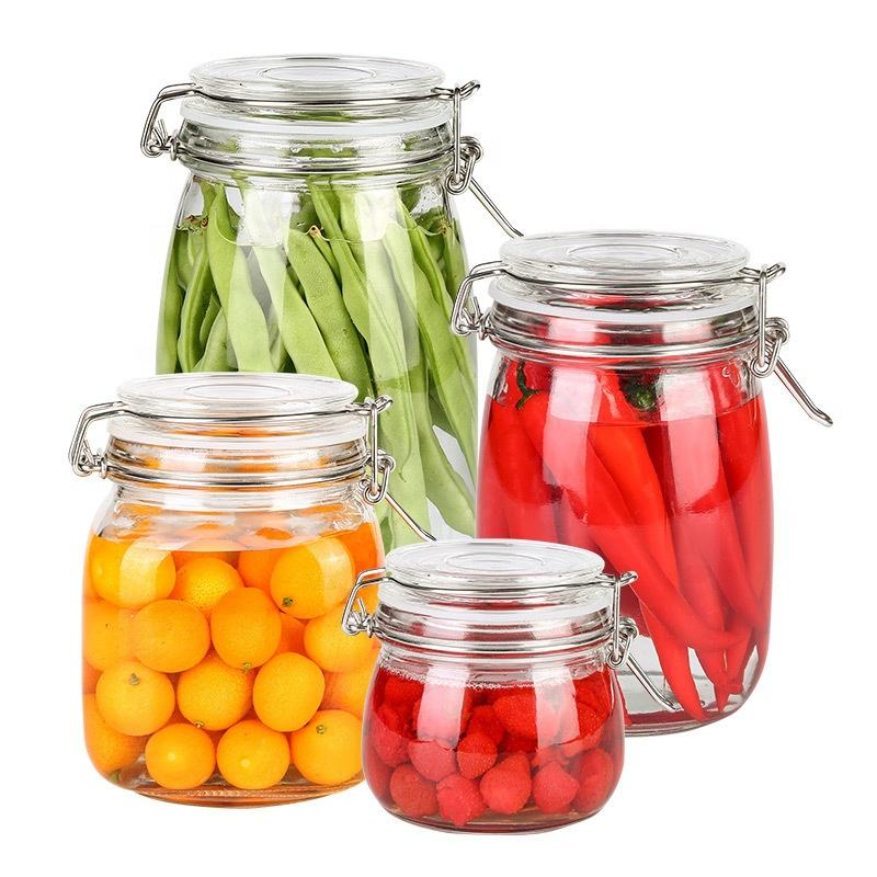 KC0023 1800ML 4Pcs:New Trending Product Grains Storage Jar Multi-Functional Clear Glass Food Storage Tank