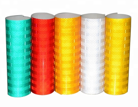 High visibility colored reflective road marking tapes