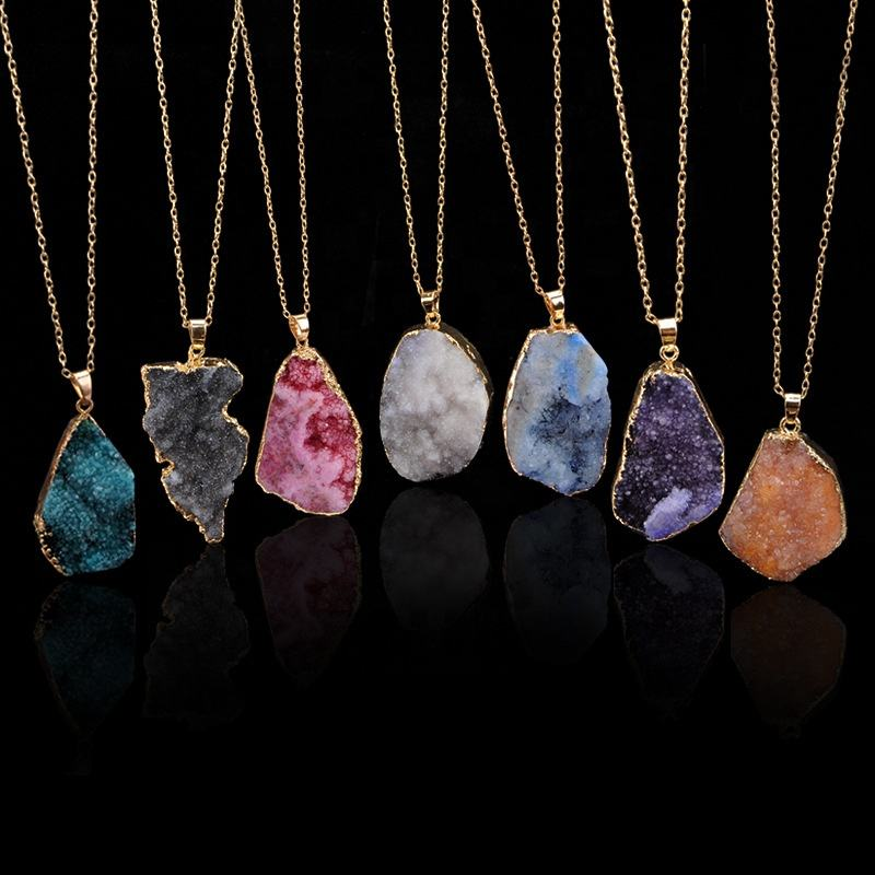 Gold Clavicle Necklace Chain Fashion Jewelry Irregular Nature Crystal Stone Pendant Necklaces For Women Accessories