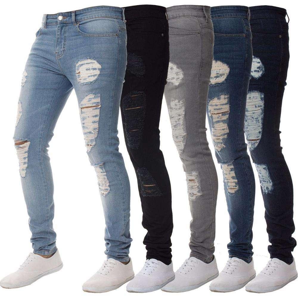 fashion blue ripped damaged mens jeans pants skinny denim jeans