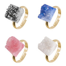 Yase Women Gold Plated Natural Gemstone Rings Adjustable Druzy Crystal Agate Rings Accessories