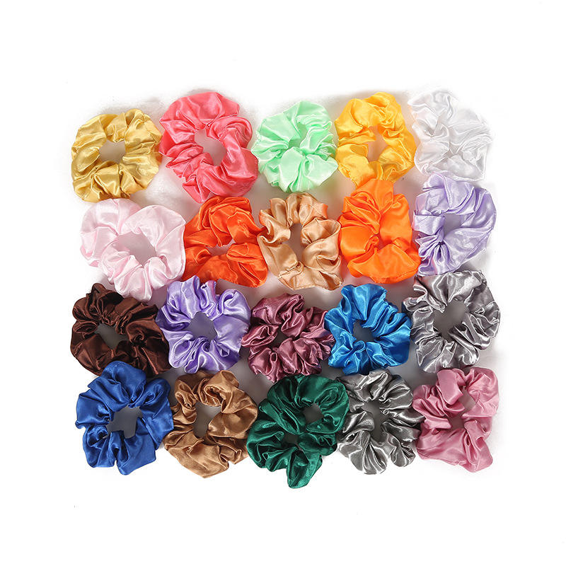 40 various colors available 2019 high quality satin scrunchies wholesale custom silk hair scrunchies silk scrunchie