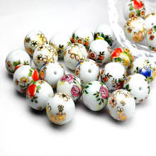 14mm Japanese style crystal Painted Beads round lampwork glass beads   Hand-painted for Jewelry making