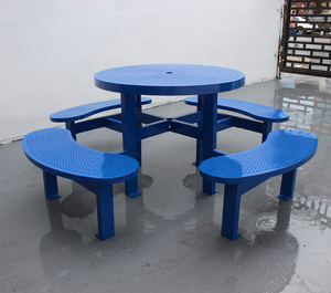 Heavy duty colorful outdoor round picnic table and bench set metal outdoor table chair