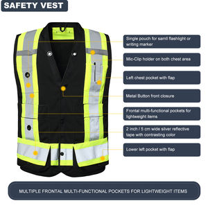 Wholesale Vest Custom Logo Traffic Security Guard Vests Work Black Construction Safety Vest