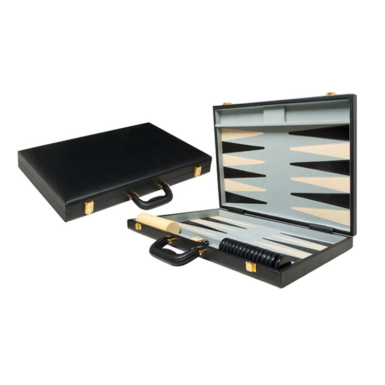 Custom Classic Backgammon Set Zwarte Boord Lederen Backgammon <span class=keywords><strong>Checkers</strong></span>