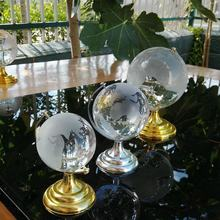 MH-Q004   Crystal Globe with Golden Metal Stand wedding decoration