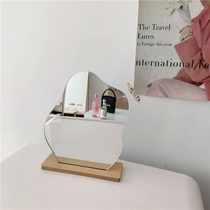 2020 Wholesale Makeup Mirror Ins Korean Irregular Acrylic Make Up Mirror With Wooden Base Cosmetic Beauty Tools