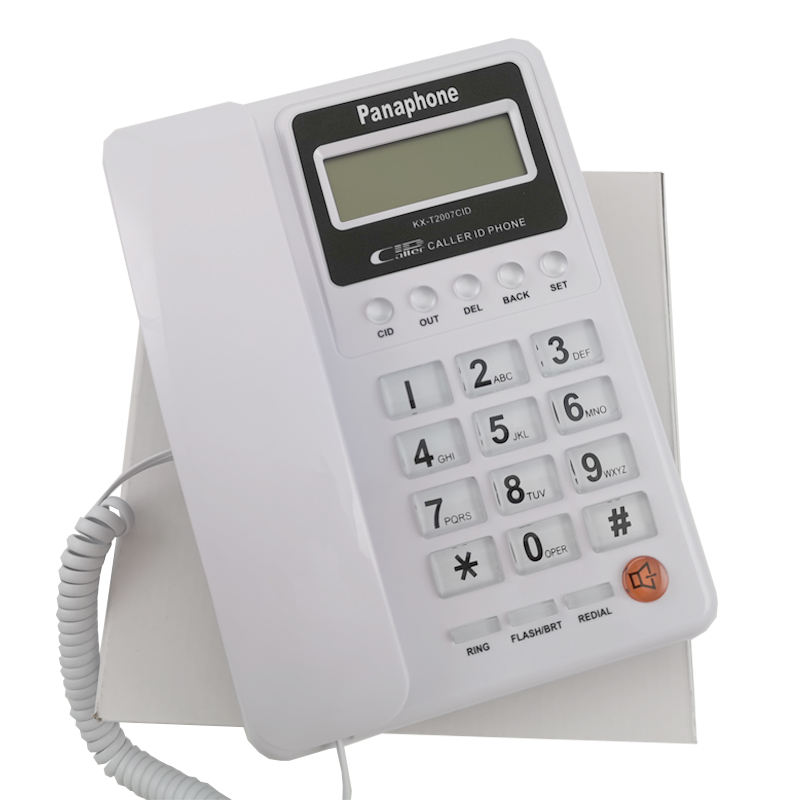 White Caller ID Telephone with Led Display Corded Landline Phone for Hotel/Office/Home