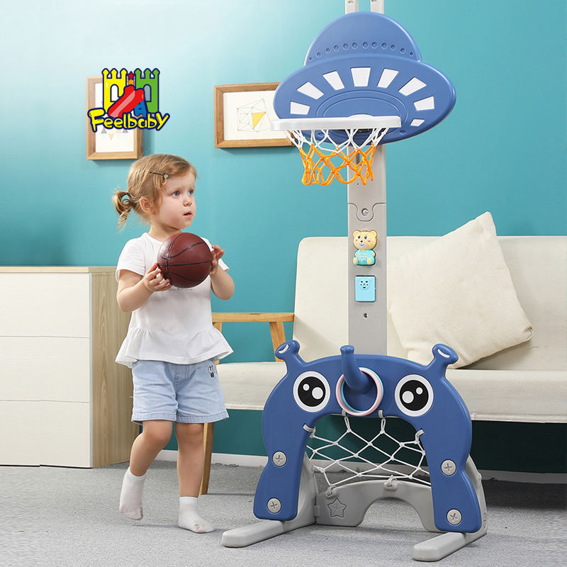 Feelbaby kids sports toy indoor plastic adjustable children basketball with stand