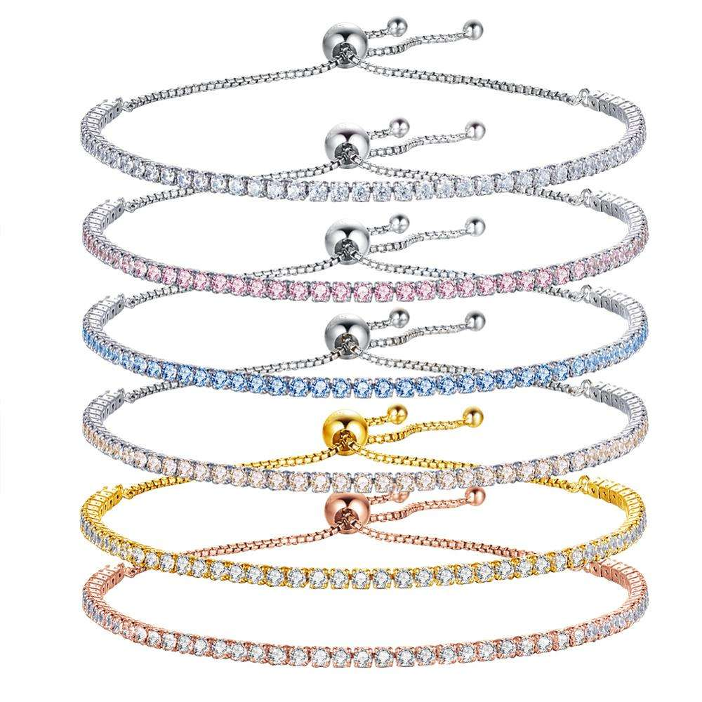 Colorful 18k gold S925 silver crystal exquisite adjustable zircon CZ stones tennis chain row diamond bracelet