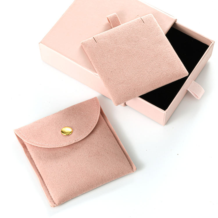 Hot sell pink envelope jewelry pouch with insert inside