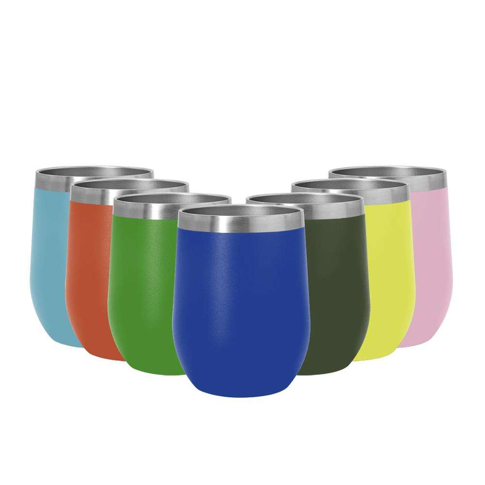 12 oz Powder Coated Stainless Steel Wine Tumbler with Lid and Straw Insulated Stemless Tumbler Cup