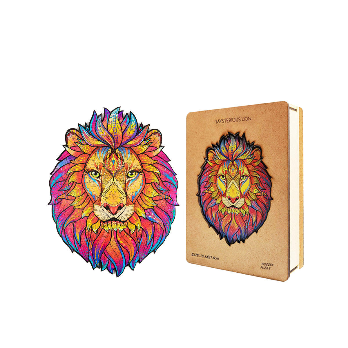 Amazon Hot Seller Best Gift Colorful 3D Mysterious Lion Animals Wooden Jigsaw Puzzle For Adults And Kids