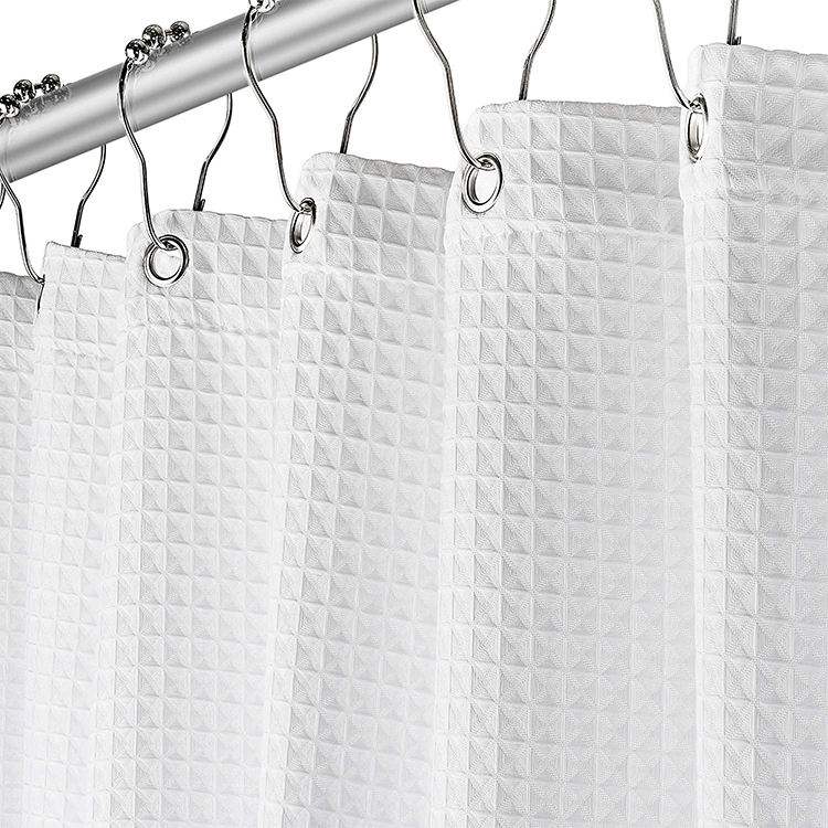 Polyester Cotton Blend Fabric Rustproof Metal Grommets Waterproof Bathroom Waffle Shower curtain