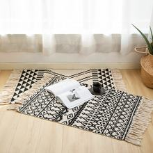 Nordic design cotton woven custom area rug for living room silk printed carpet rug with tassels