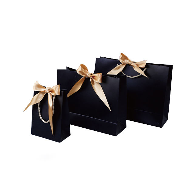 Bolsa De Regalo Black Gift Shopping Bags Papel Sac Papier Luxe Sac Shopping En Papier Nylon Tote Bag Custom Free Ribbons