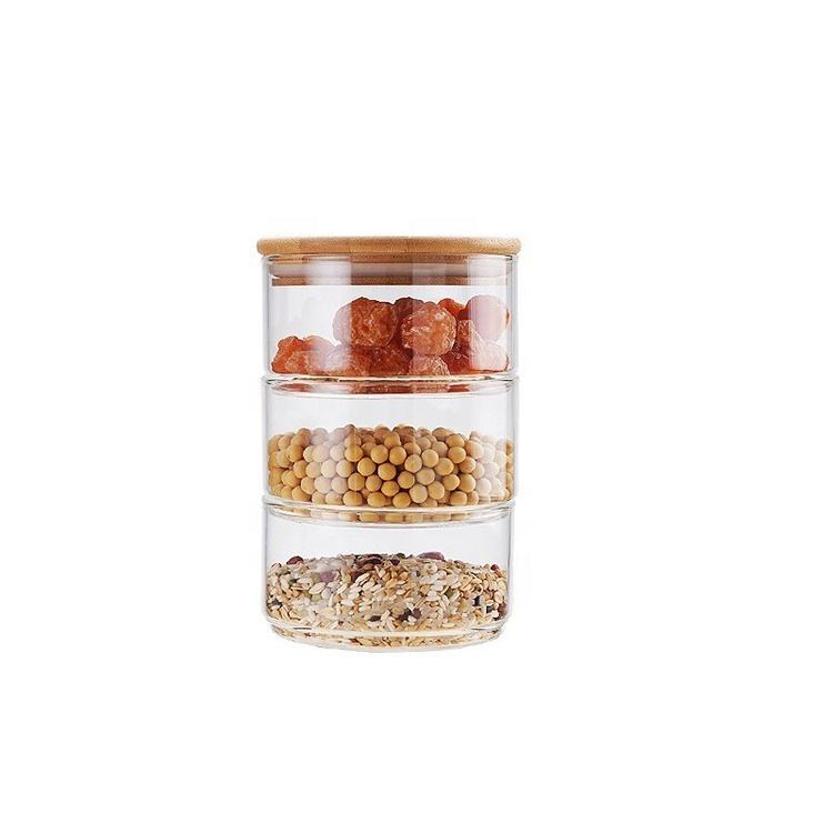 Mouth Blown 3 and 4 layers Stackable Bamboo Wood Seal Lid Glass Storage Jar with Wooden Lid