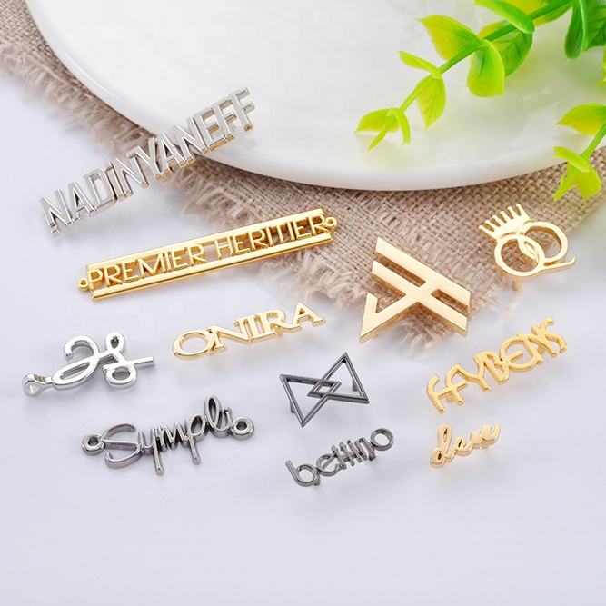 Metal Label For Handbag OEM ODM Fashion Bag Accessories Making Metal Embossed Name Plate Logo Tag Custom Engraved Metal Brand Logo Labels For Handbags