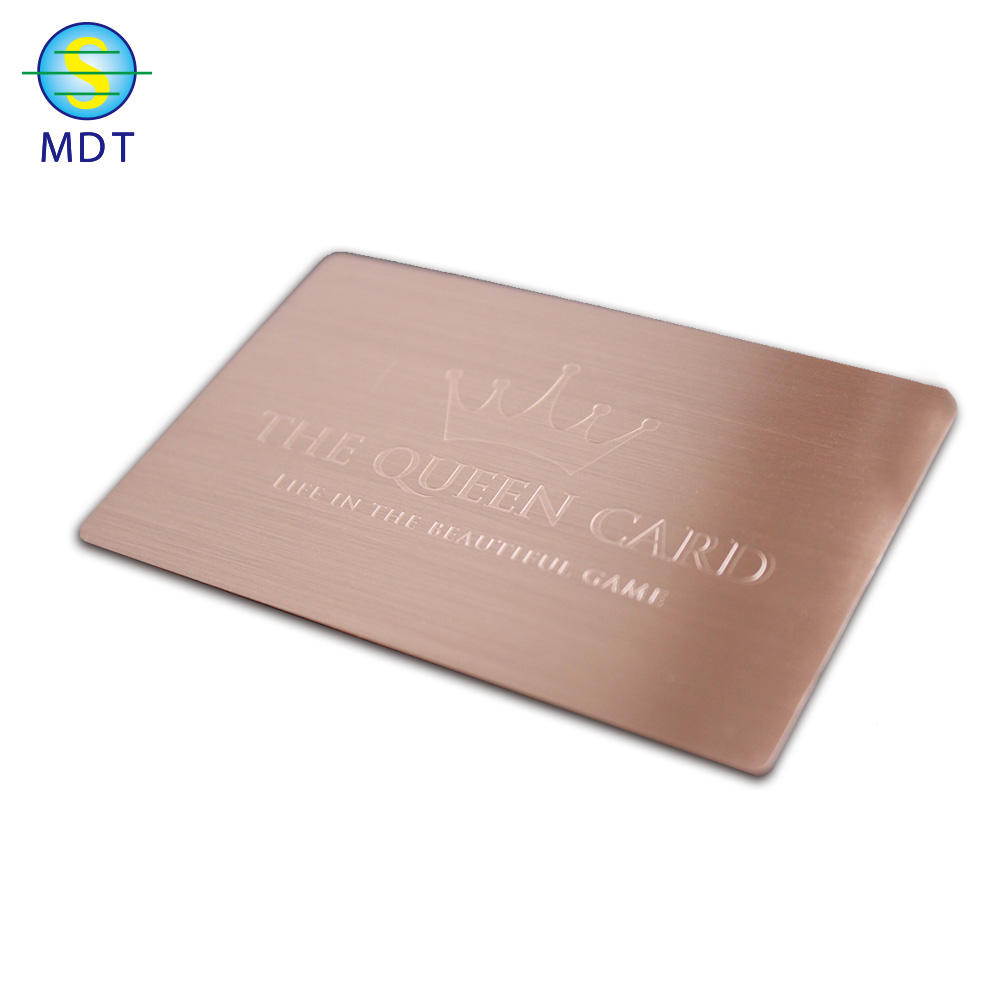 MDT O custom finish metal cards textured metal business card in stainless steel material