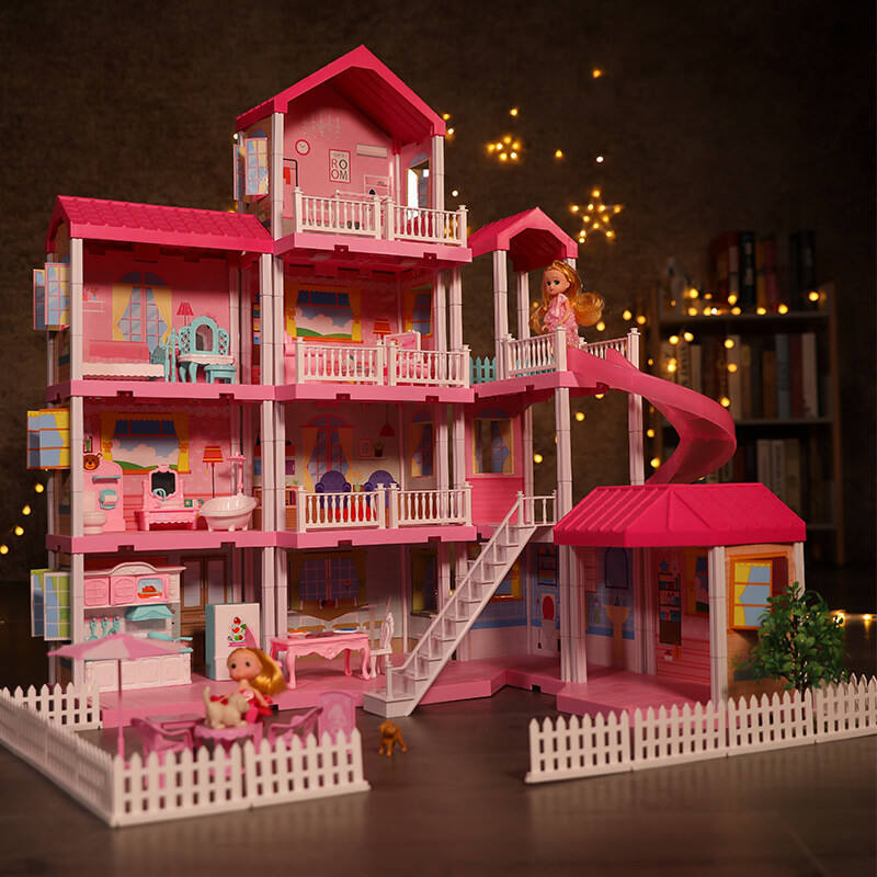 Christmas New Year Presents One-service 4 Floors Mini Doll House Furniture DIY 3D Babie Dream House for Girls with Lights