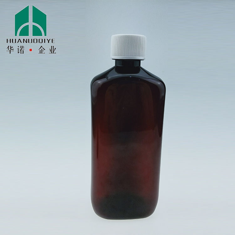 16oz empty flat plastic amber pet liquid bottle 500ml with crc cap