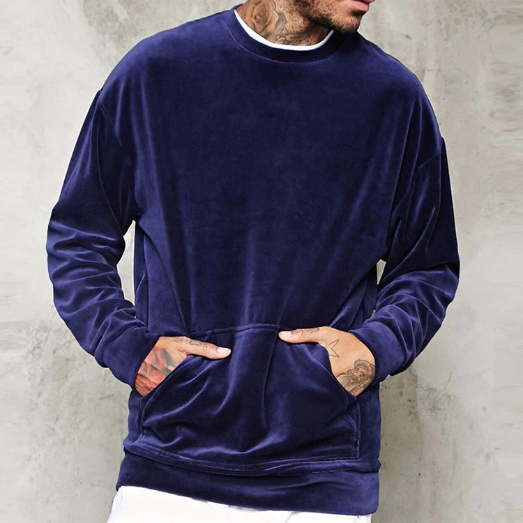 Custom Mens Crewneck Pullover Plain Velour Sweatshirt