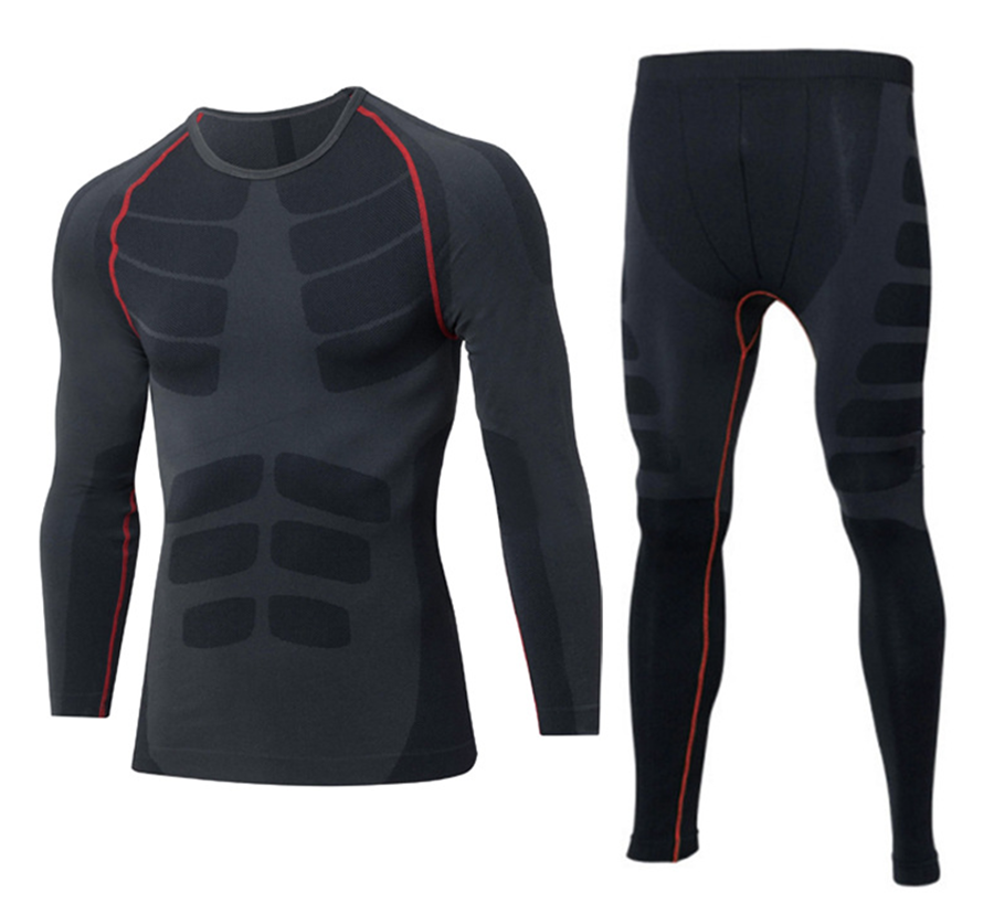 Sports tights suit men's autumn and winter quick-drying fitness clothes running long-sleeved bottoming training suit