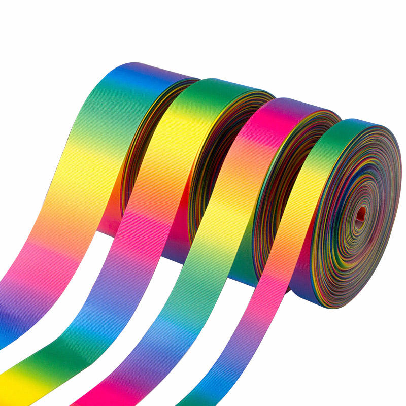 polyester satin or grosgrain Gradient Rainbow Ribbon Double Face print ribbon For Festival Decoration