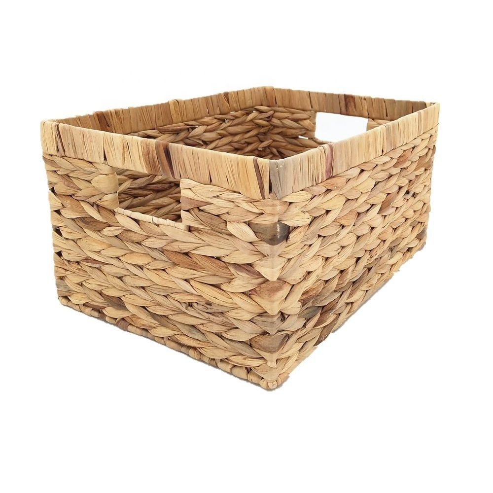 Rectangle Handmade Water Hyacinth Storage Basket Seagrass Bamboo Rattan Decorative Basket Use Everyday Woven Basket Boxes