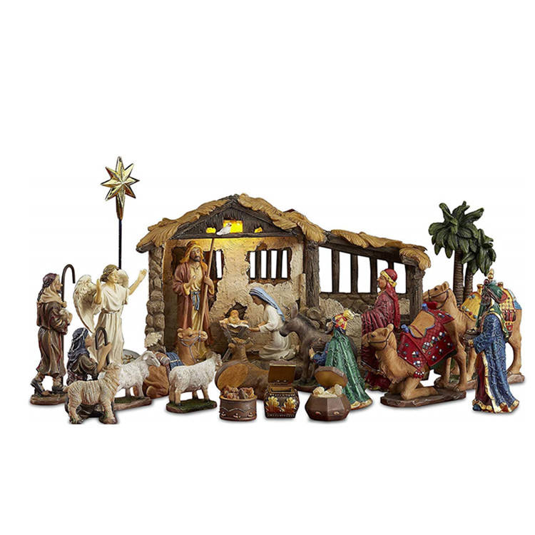 Polyresin/Resin outdoor nativity set 23 Pieces, 5-Inch The Real Life Nativity - Includes Lighted Stable, Palm Tree and Chests