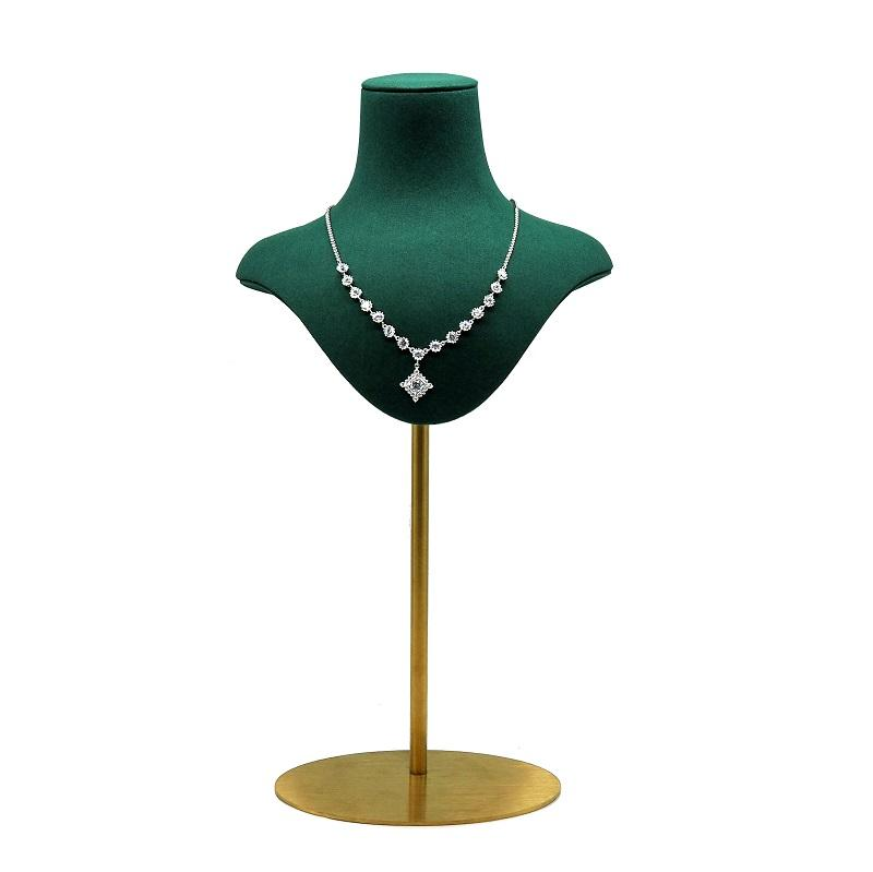 Jewellery store metal rack and green color mannequin holder pendant stand necklace bust display jewelry showcase