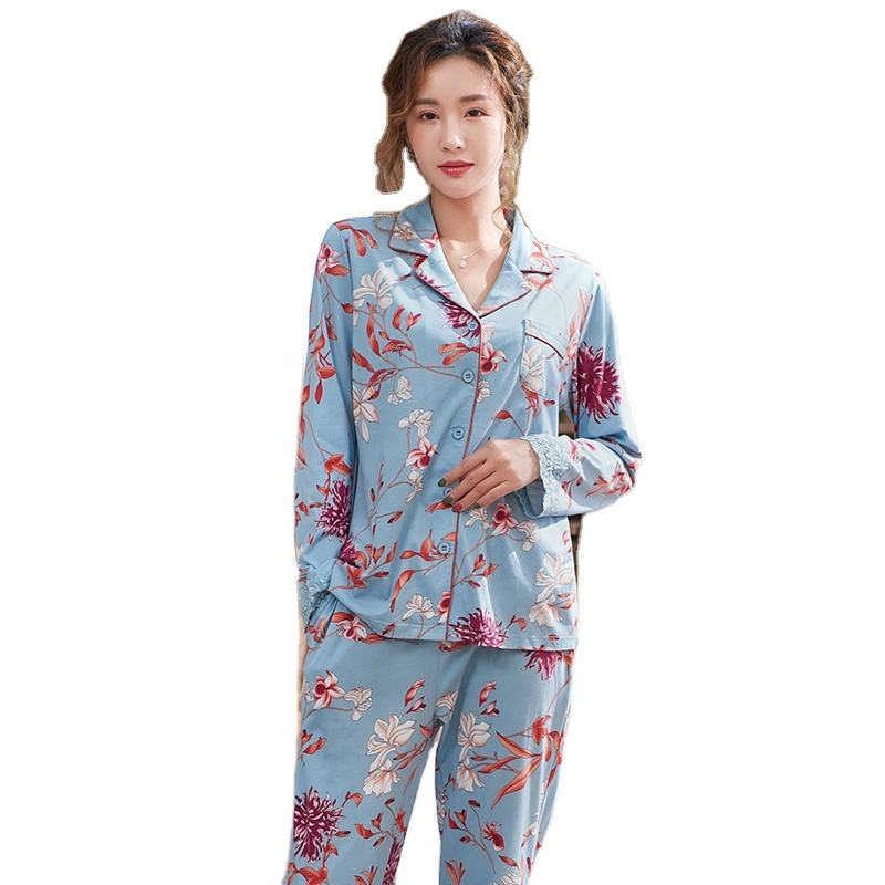 Luxury Ladies Pajamas 2020 New Long Sleeve Viscose Modal Sleepwear Plus Size 3xl Floral Printing Skin Friendly Lace Cuff Pajamas