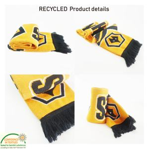 High Quality Wholesale Customized Oeko-tex Recycled Double Side Fan Acrylic Knitted Sports Soccer Club Football Scarf