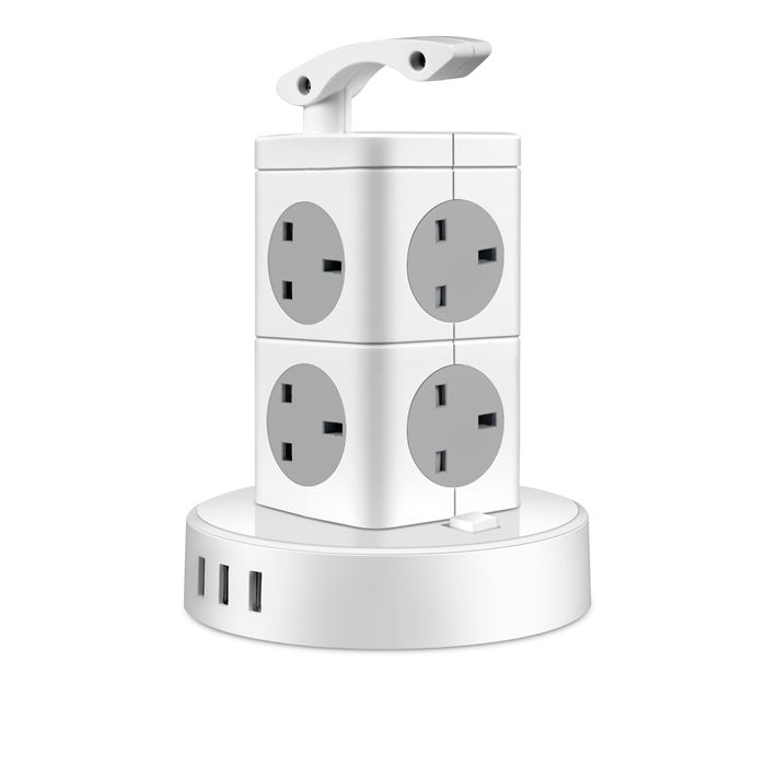 Surge Protector Power Strip Tower, Tower Extension Lead, Portable Power Strip 12-Socket Outlet Plugs with 3 USB Port