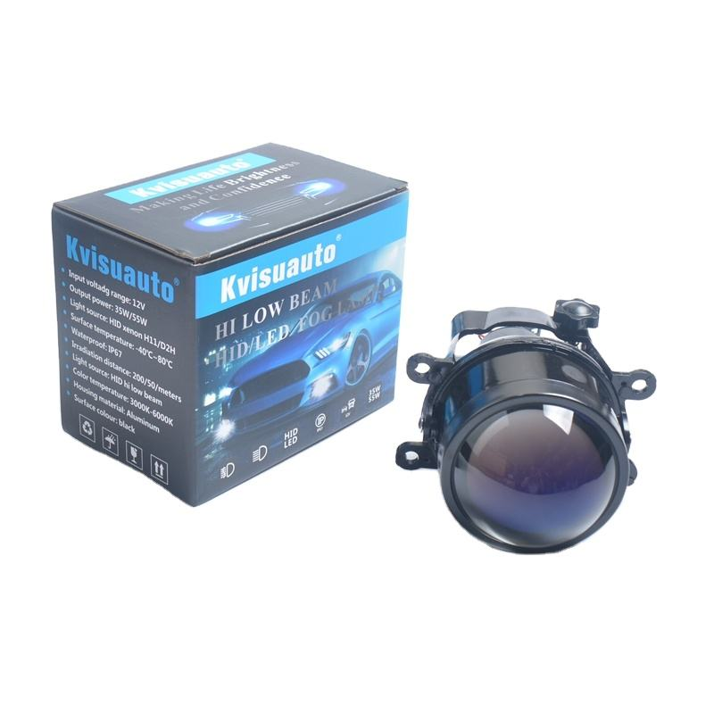 CQL Kvisuauto 12V 35W 3 inch D2H H11 bi xenon fog lamp projector blue lens with high low beam