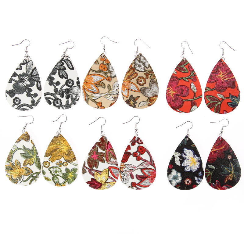 Vintage simple water drop print embroidered leather earrings women